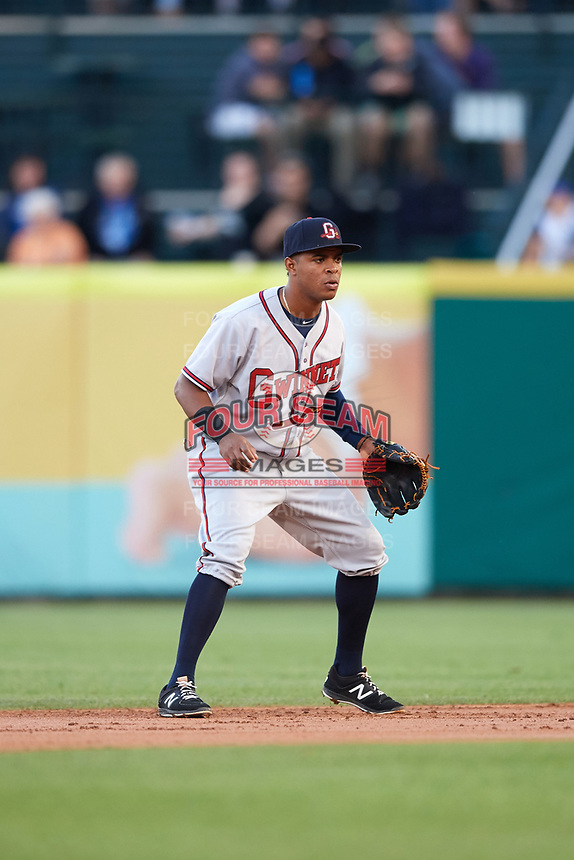 Gwinnett Braves second baseman Luis Valenzuela (1) during a game against the Buffalo Bisons on August 19, 2017 at Coca-Cola Field in Buffalo, New York.  Gwinnett defeated Buffalo 1-0.  (Mike Janes/Four Seam Images)