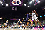 COLUMBUS, OH - APRIL 1: Teaira McCowan #15 of the Mississippi State Bulldogs  posts up against Kristina Nelson #21 of the Notre Dame Fighting Irish during the championship game of the 2018 NCAA Division I Women's Basketball Final Four at Nationwide Arena in Columbus, Ohio. (Photo by Justin Tafoya/NCAA Photos via Getty Images)