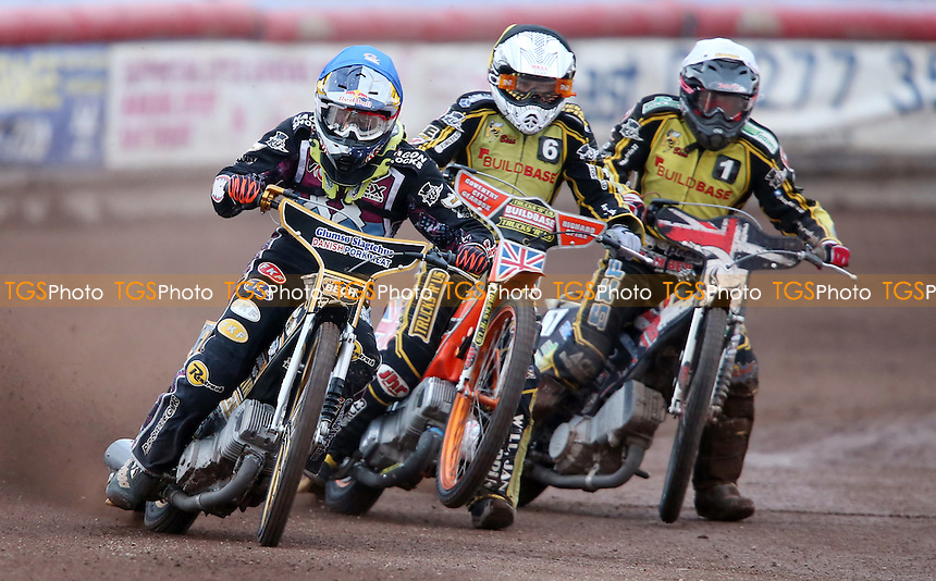 Heat 1: Mikkel Bech (blue), Chris Harris (white) and Jason Garrity (yellow) - Lakeside Hammers vs Coventry Bees, Elite League Speedway at the Arena Essex Raceway, Pufleet - 27/07/15 - MANDATORY CREDIT: Rob Newell/TGSPHOTO - Self billing applies where appropriate - 0845 094 6026 - contact@tgsphoto.co.uk - NO UNPAID USE