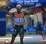 Emanuele BECCHIS in action at FIS Sprint Rollerski World Cup in Trento © Pierre Teyssot<br /> www.staminarollerski.com