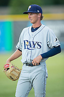 Princeton Rays pitcher Eric Diomartich (31) stands near the bullpen during the game against the Burlington Royals at Burlington Athletic Stadium on August 12, 2016 in Burlington, North Carolina.  The Royals defeated the Rays 9-5.  (Brian Westerholt/Four Seam Images)