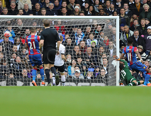 21.02.2016. White Hart Lane, London, England. Emirates FA Cup 5th Round. Tottenham Hotspur versus Crystal Palace. Ball hits the back of the net after the shot from Kelly (Palace) making it 0-1 in the last minute of the first half