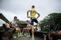 All fun show-off by Sep Vanmarcke (BEL/LottoNL-Jumbo) before the Grand D&eacute;part - Official Teams Presentation in the historic village of Sainte-M&egrave;re-Eglise<br /> <br /> 103rd Tour de France 2016