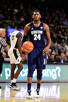 Wednesday, January 4, 2016:  Georgetown Hoyas forward Marcus Derrickson (24) waits for play to resume during the NCAA basketball game between the Georgetown Hoyas and the Providence Friars held at the Dunkin Donuts Center, in Providence, Rhode Island. Providence defeats Georgetown 76-70 in regulation time. Eric Canha/CSM