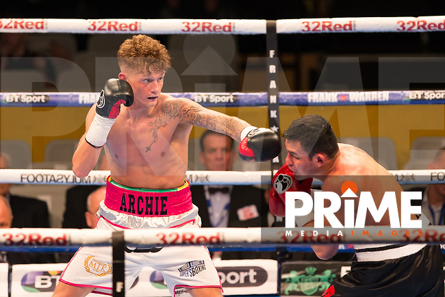 Archie Sharp (10-0) in action vs Rafael Castillo (14-37-3) during the Boys are back in town - Frank Warren Boxing event at the Copper Box Arena, London, England on 9 December 2017. Photo by Andy Rowland.