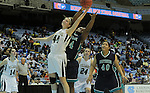 Bishop McGuinness' Cameron Nieters (44) beats Southside's Deandria Purdue to a rebound during the Villains' 60-44 win, a 7th-consecutive state title and a new state record, at the Dean Smith Center in Chapel Hill, NC, on Saturday, March 10, 2012.  Photo by Ted Richardson