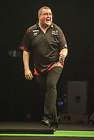 09.04.2015. Sheffield, England. Betway Premier League Darts. Matchday 10. Stephen Bunting [ENG]celebrates during his game with Michael van Gerwen [NED]
