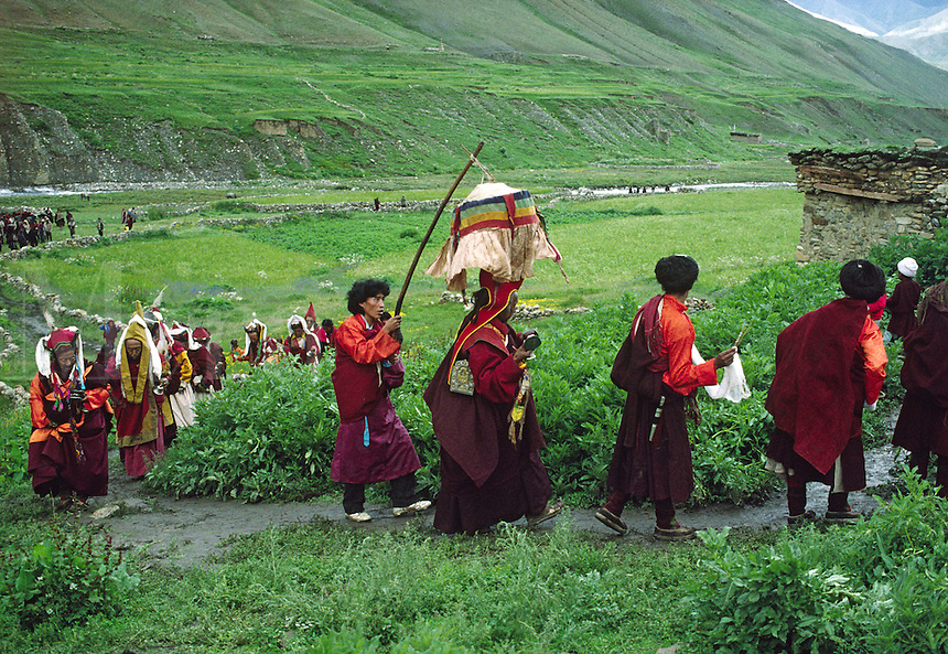 PROCESSION of monks to JAGLUNG MONASTERY at Tibetan Buddhist FESTIVAL in the DO TARAP VALLEY - DOLPO DISTRICT, NEPAL