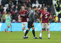 West Ham United's Declan Rice, Lukasz Fabianski and Pablo Zabaleta celebrate at the end of the game<br /> <br /> Photographer Rob Newell/CameraSport<br /> <br /> The Premier League - West Ham United v Arsenal - Saturday 12th January 2019 - London Stadium - London<br /> <br /> World Copyright © 2019 CameraSport. All rights reserved. 43 Linden Ave. Countesthorpe. Leicester. England. LE8 5PG - Tel: +44 (0) 116 277 4147 - admin@camerasport.com - www.camerasport.com