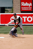 Adrian Cardenas -  Sacramento RiverCats  playing against the Round Rock Express at Raley Field, Sacramento, CA - 05/19/2009. Cardenas evades a sliding Matt Kata to complete a double play..Photo by:  Bill Mitchell/Four Seam Images