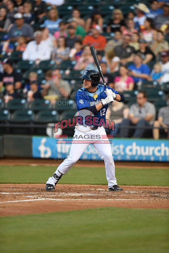 ***Temporary Unedited Reference File***Corpus Christi Hooks first baseman Conrad Gregor (12) during a game against the Frisco RoughRiders on April 23, 2016 at Whataburger Field in Corpus Christi, Texas.  Corpus Christi defeated Frisco 3-2.  (Mike Janes/Four Seam Images)
