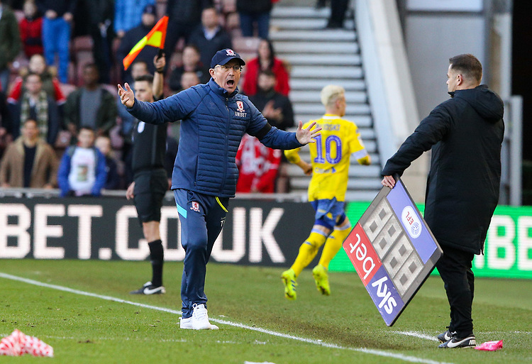 Middlesbrough manager Tony Pulis appeals for a freekick<br /> <br /> Photographer Alex Dodd/CameraSport<br /> <br /> The EFL Sky Bet Championship - Middlesbrough v Leeds United - Saturday 9th February 2019 - Riverside Stadium - Middlesbrough<br /> <br /> World Copyright &copy; 2019 CameraSport. All rights reserved. 43 Linden Ave. Countesthorpe. Leicester. England. LE8 5PG - Tel: +44 (0) 116 277 4147 - admin@camerasport.com - www.camerasport.com