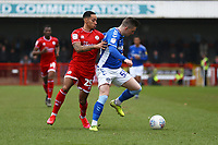 Zachary Dearnley of Oldham Athletic and Josh Dacres-Cogley of Crawley Town during Crawley Town vs Oldham Athletic, Sky Bet EFL League 2 Football at Broadfield Stadium on 7th March 2020