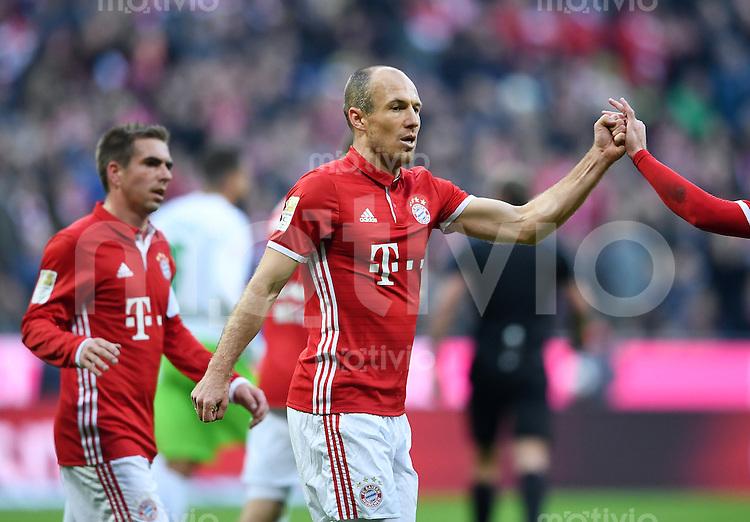 Fussball  1. Bundesliga  Saison 2016/2017  14. Spieltag  FC Bayern Muenchen - VfL Wolfsburg    10.12.2016 JUBEL FC Bayern Muenchen; Arjen Robben