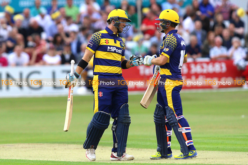 Colin Ingram (L) and Mark Wallace of Glamorgan during Essex Eagles vs Glamorgan, NatWest T20 Blast Cricket at the Essex County Ground on 29th July 2016