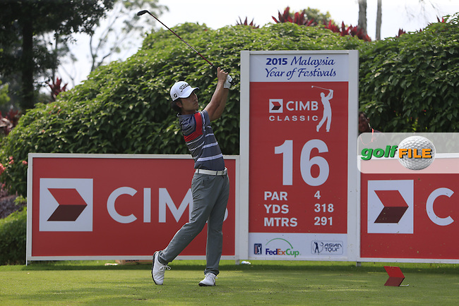 Kevin Na (USA) on the 16th tee during Round 4 of the CIMB Classic in the Kuala Lumpur Golf &amp; Country Club on Sunday 2nd November 2014.<br /> Picture:  Thos Caffrey / www.golffile.ie