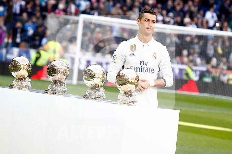 Real Madrid's Cristiano Ronaldo golden ball 2016 during La Liga match. January 7,2016. (ALTERPHOTOS/Acero)