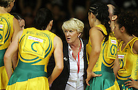 16.11.2007 Australian coach Norma Plummer and team during the Australia v England match at the New World Netball World Champs held at Trusts Stadium Auckland New Zealand. Mandatory Photo Credit ©Michael Bradley.