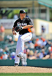 13 March 2012: Miami Marlins pitcher Evan Reed on the mound during a Spring Training game against the Atlanta Braves at Roger Dean Stadium in Jupiter, Florida. The two teams battled to a 2-2 tie playing 10 innings of Grapefruit League action. Mandatory Credit: Ed Wolfstein Photo