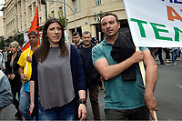 Pictured: Syriza party MP and Speaker of the Hellenic Parliament Zoi Konstantopoulou (L) Wednesday 17 May 2017<br /> Re: Clashes between anti fourth memorandum protesters and riot police during 24 hour strike in Athens, Greece