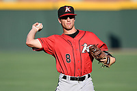 Second baseman Zach Remillard (8) of the Kannapolis Intimidators warms up before a game against the Greenville Drive on Wednesday, July 12, 2017, at Fluor Field at the West End in Greenville, South Carolina. Greenville won, 12-2. (Tom Priddy/Four Seam Images)