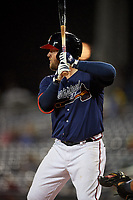 Mississippi Braves Andy Wilkins (32) at bat during a Southern League game against the Jacksonville Jumbo Shrimp on May 4, 2019 at Trustmark Park in Pearl, Mississippi.  Mississippi defeated Jacksonville 2-0.  (Mike Janes/Four Seam Images)
