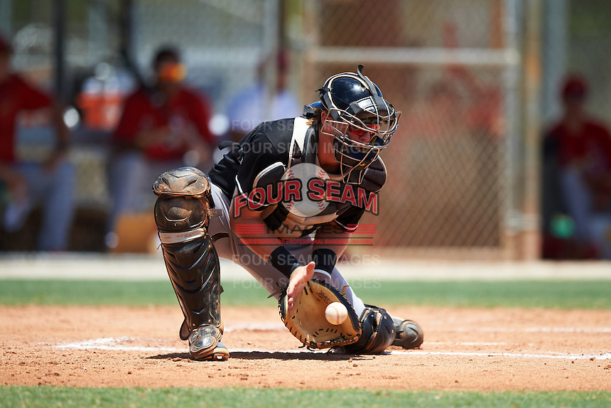 GCL Marlins catcher Matthew Foley (26) during the second game of a doubleheader against the GCL Cardinals on August 13, 2016 at Roger Dean Complex in Jupiter, Florida.  GCL Cardinals defeated GCL Marlins 2-0.  (Mike Janes/Four Seam Images)
