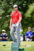 Jon Rahm (ESP) stares down a fan after he yelled during Jon's   swing on the 16th tee Sunday's final round of the PGA Championship at the Quail Hollow Club in Charlotte, North Carolina. 8/13/2017.<br /> Picture: Golffile | Ken Murray<br /> <br /> <br /> All photo usage must carry mandatory copyright credit (&copy; Golffile | Ken Murray)