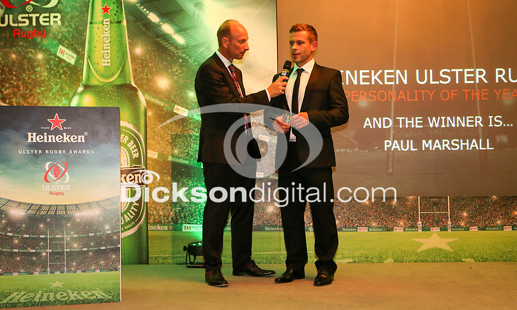 Thursday 10th May 2018   Ulster Rugby Awards 2018<br /> <br /> Stephen Watson interviews the Heineken Ulster Rugby Personality of the Year Award to Paul Marshall, during the 2018 Heineken Ulster Rugby Awards at La Mom Hotel, Belfast. Photo by John Dickson / DICKSONDIGITAL