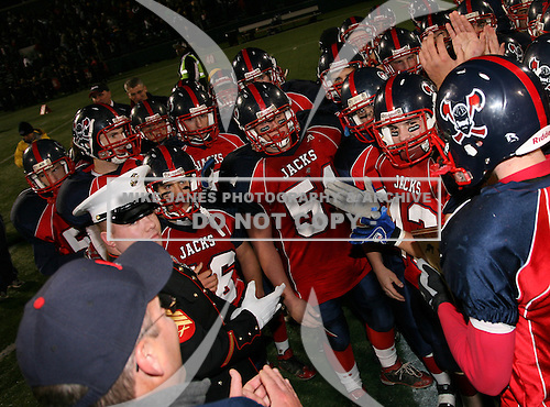 North Tonawanda Lumberjacks varsity football against the Baldwinsville Bees in the Class-AA NYSPHSAA Semifinals at Marina Auto Stadium on November 21, 2009 in Rochester, New York.  North Tonawanda defeated Baldwinsville of 28-7.  (Copyright Mike Janes Photography)