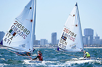 Laser/ Anne-Marie RINDOM (DEN)<br /> ISAF Sailing World Cup Final - Melbourne<br /> St Kilda sailing precinct, Victoria<br /> Port Phillip Bay Wednesday 7 Dec 2016<br /> &copy; Sport the library / Jeff Crow