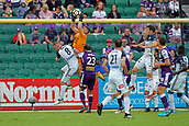 25th March 2018, nib Stadium, Perth, Australia; A League football, Perth Glory versus Melbourne Victory; Liam Reddy of the Perth Glory takes the cross as Besart Berisha of Melbourne Victory challenges