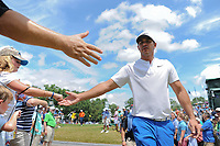 Brooks Koepka (USA) shakes hands with young fans enroute to 11 during Sunday's final round of the PGA Championship at the Quail Hollow Club in Charlotte, North Carolina. 8/13/2017.<br /> Picture: Golffile | Ken Murray<br /> <br /> <br /> All photo usage must carry mandatory copyright credit (&copy; Golffile | Ken Murray)