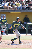 Jakob Goldfarb (27) of the Oregon Ducks bats during a game against the Southern California Trojans at Dedeaux Field on April 18, 2015 in Los Angeles, California. Oregon defeated Southern California, 15-4. (Larry Goren/Four Seam Images)