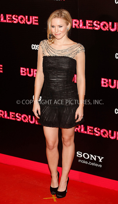 WWW.ACEPIXS.COM . . . . .  ..... . . . . US SALES ONLY . . . . .....December 9 2010, Madrid....Kristen Bell at the premiere of 'Burlesque' on December 9 2010 in Madrid....Please byline: FAMOUS-ACE PICTURES... . . . .  ....Ace Pictures, Inc:  ..Tel: (212) 243-8787..e-mail: info@acepixs.com..web: http://www.acepixs.com