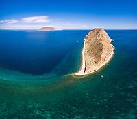 aerial view of Isla San Diego, La Paz, Baja California Sur, Mexico, Gulf of California, Sea of Cortez, Pacific Ocean