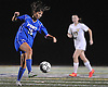 Port Washington No. 15 Catalina Salvatierra gains control near midfield during the Nassau County varsity girls' soccer Class A final against Massapequa at Cold Spring Harbor High School on Tuesday, November 3, 2015.<br /> <br /> James Escher
