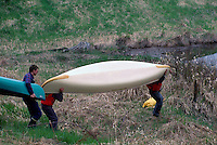 Carrying Canoes to the North Alouette River, in the Pitt Polder Area of the Fraser Valley near Maple Ridge, BC, British Columbia, Canada, Spring