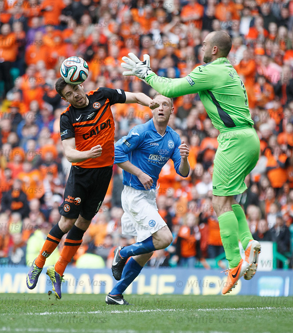 Ryan Dow and keeper Alan Mannus