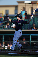 Drew Ferguson (20) of the Lancaster JetHawks bats against the Visalia Rawhide at The Hanger on July 6, 2016 in Lancaster, California. Lancaster defeated Visalia, 10-7. (Larry Goren/Four Seam Images)