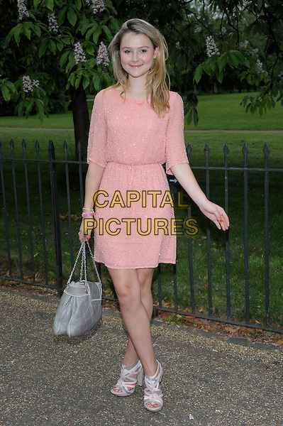 Amber Atherton.Serpentine Galley Summer Party, Kensington Palace Gardens, London, England..26th June 2012.full length pink dress grey gray bag purse .CAP/PL .©Phil Loftus/Capital Pictures.