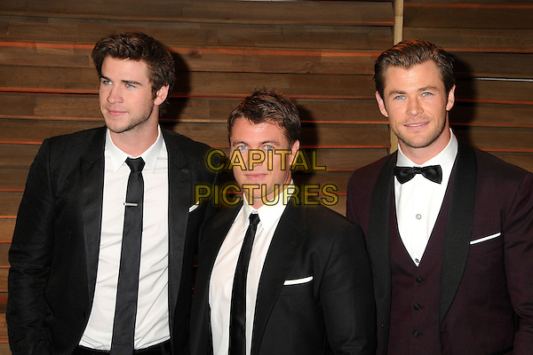 02 March 2014 - West Hollywood, California - Luke Hemsworth, Liam Hemsworth, Chris Hemsworth. 2014 Vanity Fair Oscar Party following the 86th Academy Awards held at Sunset Plaza.  <br /> CAP/ADM/BP<br /> &copy;Byron Purvis/AdMedia/Capital Pictures