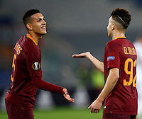 Calcio, Europa League, Gguppo E: Roma vs Austria Vienna. Roma, stadio Olimpico, 20 ottobre 2016.<br /> Roma's Stephan El Shaarawy, right, celebrates with teammate Leandro Paredes after scoring his second goal during the Europa League Group E soccer match between Roma and Austria Wien, at Rome's Olympic stadium, 20 October 2016. The game ended 3-3.<br /> UPDATE IMAGES PRESS/Isabella Bonotto