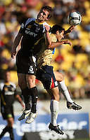 Tim Brown and Adam D'Apuzzo compete for a header during the A-League match between Wellington Phoenix and Newcastle Jets at Westpac Stadium, Wellington, New Zealand on Sunday, 4 January 2009. Photo: Dave Lintott / lintottphoto.co.nz