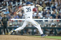 Michigan Wolverines pitcher Walker Cleveland (35) delivers a pitch to the plate against the Vanderbilt Commodores during Game 2 of the NCAA College World Series Finals on June 25, 2019 at TD Ameritrade Park in Omaha, Nebraska. Vanderbilt defeated Michigan 4-1. (Andrew Woolley/Four Seam Images)