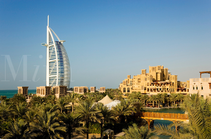 Dubai.  Burj al Arab Hotel, Al Qasr Hotel and Mina A'Salam Hotel at the Madinat Jumeirah.  .
