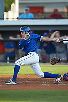 Freddy Fermin (49) of the Burlington Royals follows through on his swing against the Kingsport Mets at Burlington Athletic Stadium on July 27, 2018 in Burlington, North Carolina. The Mets defeated the Royals 8-0.  (Brian Westerholt/Four Seam Images)