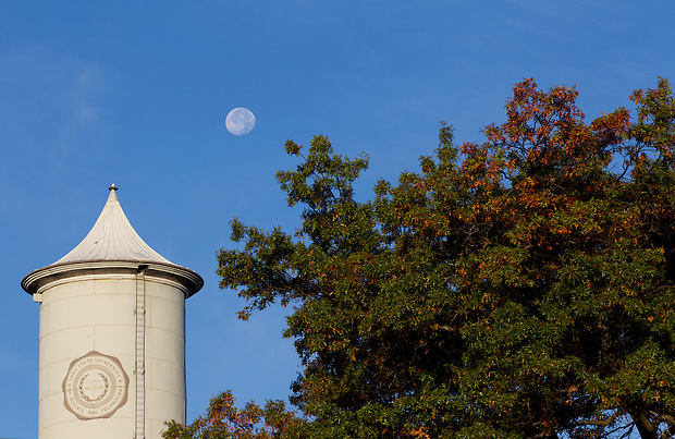 Moon rises over the campus of Iowa State University in Ames, Iowa. (Christopher Gannon/Gannon Visuals)