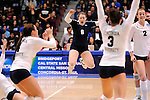 03 DEC 2011:  Taylor Fieldsted (6) of Concordia University St. Paul celebrates the Golden Bears victory over Cal State San Bernardino during the Division II Women's Volleyball Championship held at Coussoulis Arena on the Cal State San Bernardino campus in San Bernardino, Ca. Concordia St. Paul defeated Cal State San Bernardino 3-0 to win the national title. Matt Brown/ NCAA Photos