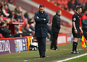 24th March 2018, The Valley, London, England;  English Football League One, Charlton Athletic versus Plymouth Argyle; Plymouth Argyle manager Derek Adams arms folded looking down on the touchline during the 2nd half